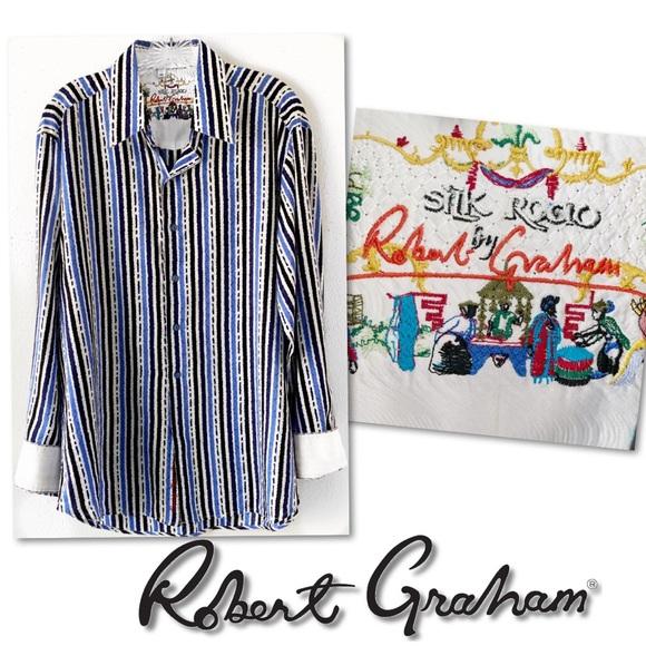 Robert Graham Other - Silk Road by Robert Graham blue white shirt SZ M